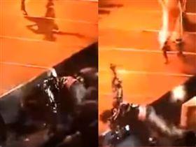 周杰倫在演唱會途中慘摔。(合成圖/翻攝自周杰倫臉書)