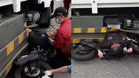 機車垃圾車擦撞,騎士卡車底(圖/翻攝自臉書)