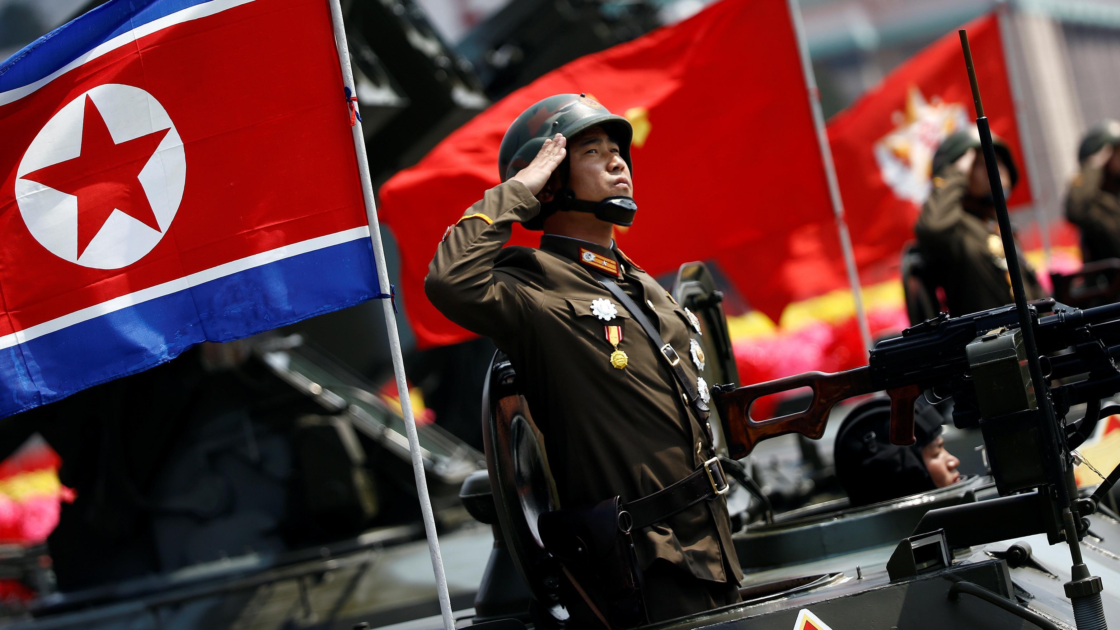 北韓太陽節大閱兵16:9。(圖/路透社/達志影像)