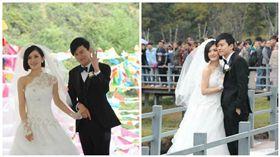謝娜,張杰,婚紗,婚禮(合成圖/翻攝自新浪娛樂)
