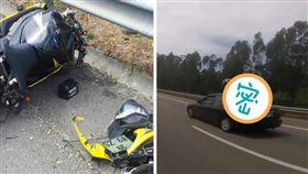 車禍,騎士,重機,轎車,忍者,車頂,奇蹟,車速 圖/翻攝自YouTube