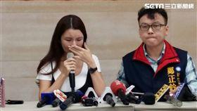 直播主蘇心甯,拉拉,記者會哭訴權益被剝奪(圖/記者邱榮吉攝)