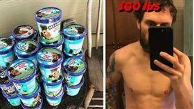 美國一名YouTuber Anthony 吃冰淇淋減肥(圖/翻攝自Anthony Instagram、Abs & Ice Cream YouTube)