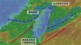 中央山脈破壞鋒面(圖/翻攝自氣象達人彭啟明臉書)