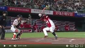 ▲KIA虎打者羅志完遭到觸身球,與樂天巨人捕手姜珉鎬衝突。(圖/截自韓國媒體)