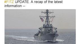美國海軍,驅逐艦,日本,外海,相撞,商船,USS Fitzgerald,費茲傑羅號 (圖/中央社)