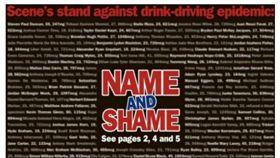 紐西蘭《山景》週報頭版全是今年酒駕犯的姓名。(圖/翻攝自Newshub)