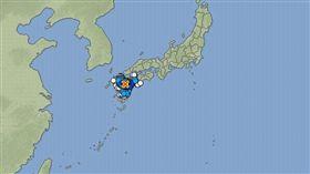 日本連兩震 北海道熊本震度5弱(圖/翻攝自日本氣象廳)