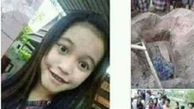 印尼少女遭拔舌挖墳。(圖/翻攝自馬來西亞《中國報》)