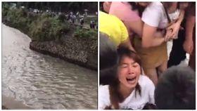 糊塗媽為拍洪水 竟將1歲兒摔進急流 圖/翻攝自微博