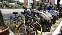 oBike亂象,腳踏車,機車格,違規停車 圖/記者林敬旻攝