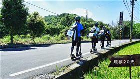 ▲男大生滑板車環島。(圖/翻攝自臉書《環夢20天-滑板車環島》)
