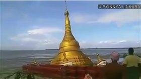 緬甸,佛寺,沉沒(圖/翻攝自YouTube)