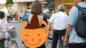 辣妹裸背+細丁踩街 網友「想幫她抹萬金油」(圖/翻攝自爆廢公社)