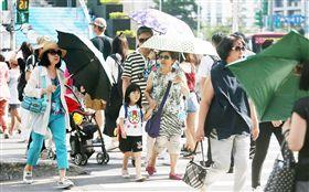 晴天、大太陽、撐洋傘、太陽、熱/中央社