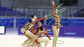 世大運韻律體操測試賽,中華隊首日在團體全能五環有精彩表現。(圖/世大運提供)