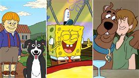 醃黃瓜先生(Mr.Pickles),海綿寶寶,史酷比(Scooby-Doo)(合成圖/翻攝自臉書)