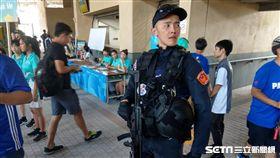 國際賽進行安檢 憲兵、維安特勤荷槍實彈(圖/記者王怡翔)