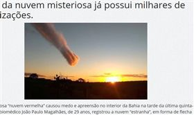 巴西,天空,殞石雲,異象,地球,巴西,世界末日,塵雲,dust cloud(圖/翻攝自Mídia Bahia) http://midiabahia.com.br/noticias/2017/08/19/nuvem-vermelha-chama-atencao-em-teixeira-de-freitas/
