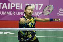 世大運羽球  戴資穎對決泰國(1)台北世大運羽球項目25日在台北體育館舉行,中華隊選手戴資穎(圖)在混合團體賽中,對決泰國選手AIMSAARD Nuntakarn,以21比3、21比15直落二取得勝利。中央社記者吳家昇攝  106年8月25日