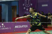 世大運羽球 戴資穎戰泰國(1)台北世大運羽球賽25日在台北體育館舉行,中華隊選手戴資穎(圖)在混合團體賽中,對決泰國選手AIMSAARD Nuntakarn,以21比3、21比15直落二取得勝利。中央社記者吳家昇攝 106年8月25日