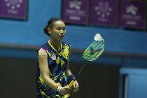 世大運羽球 戴資穎戰泰國(2)台北世大運羽球賽25日在台北體育館舉行,中華隊選手戴資穎(圖)在混合團體賽中,對決泰國選手AIMSAARD Nuntakarn,以21比3、21比15直落二取得勝利。中央社記者吳家昇攝 106年8月25日