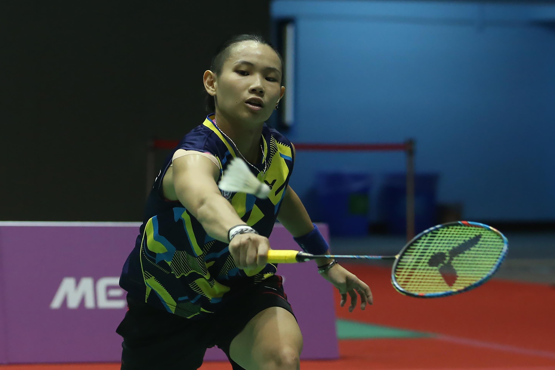 世大運羽球 戴資穎戰泰國(3)台北世大運羽球賽25日在台北體育館舉行,中華隊選手戴資穎(圖)在混合團體賽中,對決泰國選手AIMSAARD Nuntakarn,以21比3、21比15直落二取得勝利。中央社記者吳家昇攝 106年8月25日