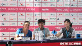 ▲詹詠然(左)與謝政鵬(中)出席賽後記者會。(圖/記者蕭保祥攝)