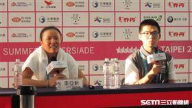 ▲網球女將李亞軒(左)出席賽後記者會。(圖/記者蕭保祥攝)