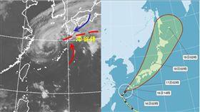 三立氣象主播吳德榮放上紅外線衛星雲圖和路徑潛勢預測圖。(翻攝自三立準氣象,老大洩天機)