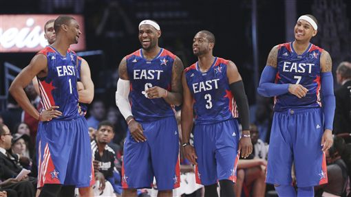 LeBron James,Carmelo Anthony,Chris Bosh,Dwyane Wade,03梯,2013明星賽(ap)