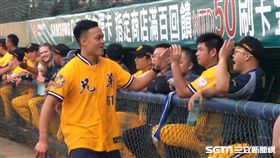 鄭兆村開球飆出134公里快速球。(圖/記者林辰彥攝)
