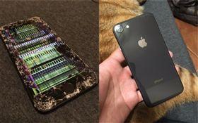 有網友PO出iPhone 8摔機的照片,螢幕碎裂的模樣慘不忍睹。(圖擷取自PTT)