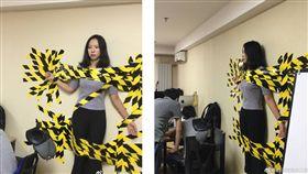 網友PO出女同事被老闆發現她沒繫上安全帶,而被老闆一氣之下將她黏在牆上(圖/翻攝自微博)
