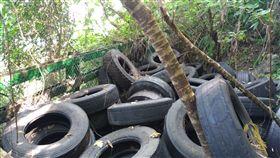 清水斷崖變調!不肖業者棄置廢棄輪胎 數量竟高達上百個 圖/保七總隊第九大隊提供
