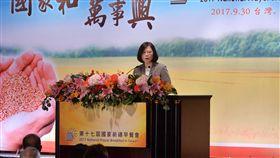 蔡總統出席國家祈禱早餐會第17屆國家祈禱早餐會30日在台北國際會議中心舉行,總統蔡英文(圖)就台灣如何尋求和諧之道發表演講。中央社記者孫仲達攝  106年9月30日