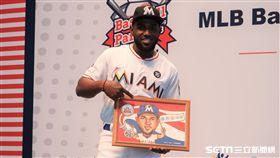 馬林魚強打Marcell Ozuna來台參加棒球樂園。(圖/記者王怡翔攝)