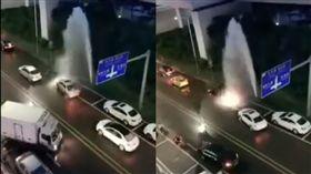 馬路水管破裂 車輛排隊洗車 圖/翻攝自微博
