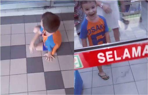 男孩,玻璃門,超商,便利超商 圖/翻攝自臉書