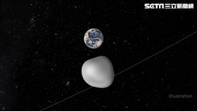 圖片說明:美國航太總署(NASA)噴射推進實驗室(JPL)製作的2012 TC4小行星近掠地球模擬影像。
