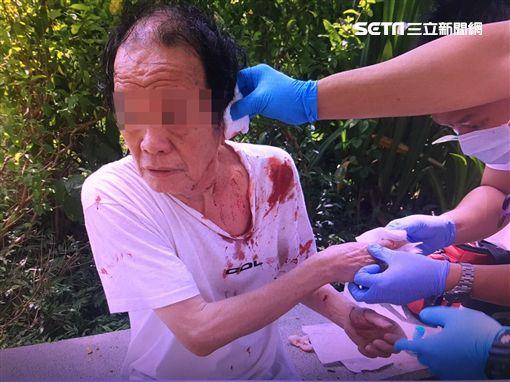 楊男在五常公園前擺攤賣水果,卻因生意不好而在紙板上寫「滾」字,路過的張翁發問卻被他持刀砍傷左耳,警方訊後將他依殺人未遂罪送辦(翻攝畫面)