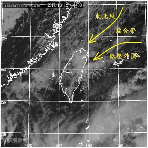 鄭明典指出,熱帶性低氣壓與東北風形成共伴效應,恐帶來豪大雨。(圖/翻攝鄭明典臉書)