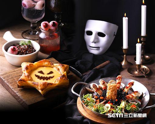 萬聖節暗黑系餐點。(圖/堤諾義式比薩提供)