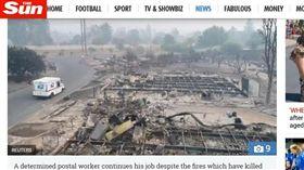 美國,加州,森林大火,郵差(圖/翻攝自太陽報) https://www.thesun.co.uk/news/4670660/california-wildfires-fail-to-stop-worlds-most-dedicated-postman-as-he-continues-to-deliver-parcels-in-his-destroyed-neighbourhood/