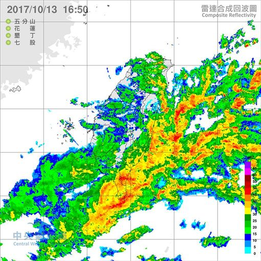 鄭明典在臉書PO出雷達回波圖預告「新一波雨勢」。(圖/翻攝中央氣象局)