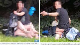 英國西倫敦一對男女在墓地旁打野戰,路人試圖想勸阻,沒想到卻遭男子丟內褲(圖/翻攝自《太陽報》)