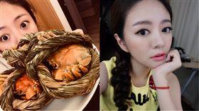▲安以軒料理大閘蟹給家人吃。(合成圖/翻攝自微博)