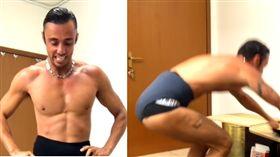 跳一跳就破世界紀錄 肌肉猛男30秒穿13件內褲影片來源:YouTube