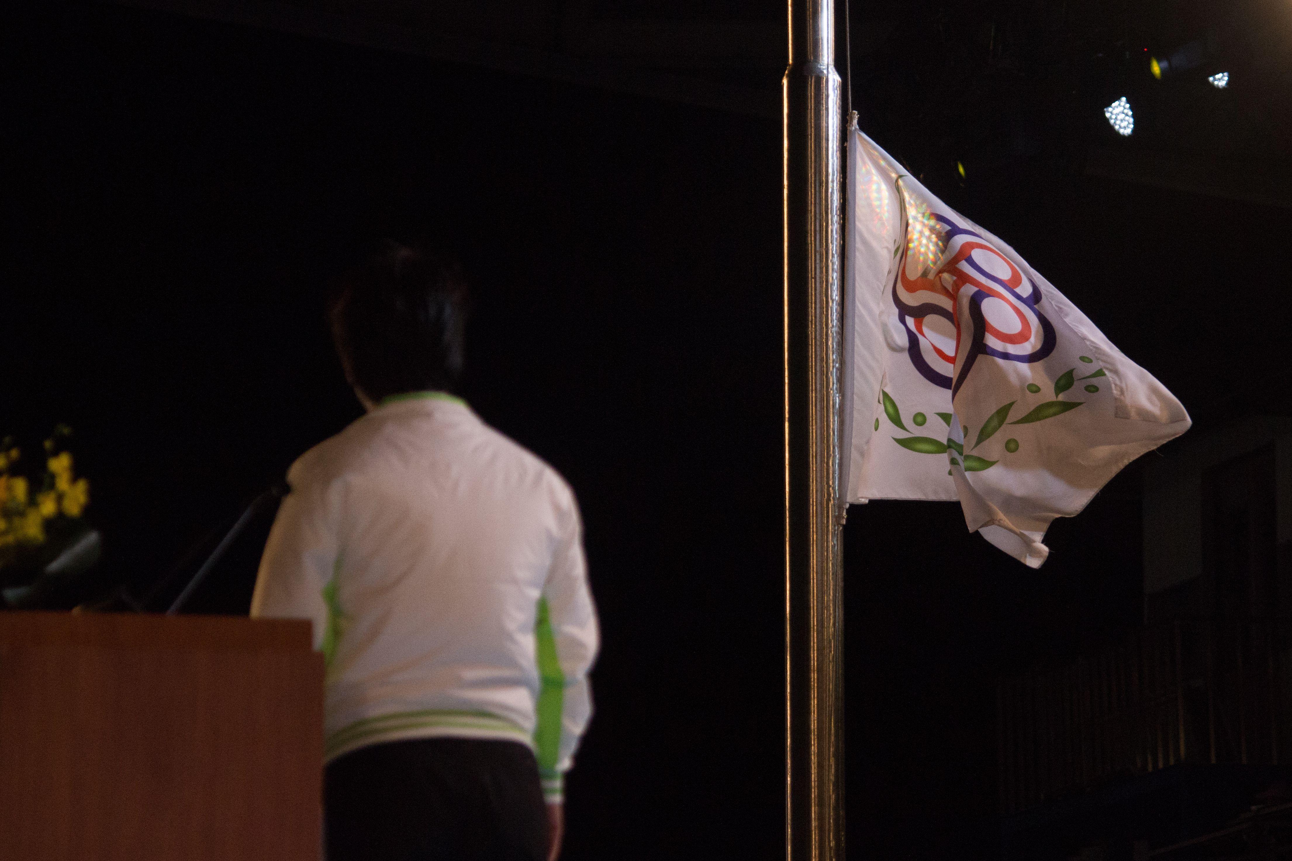 ▲106年全國運動會開幕典禮,會旗升起。(圖/記者蔡宜瑾攝影)