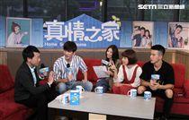 真情之家演員(由左至右)孫沁岳 、陽詠存 、李維維、 JR紀言愷上安安大明星直播。(記者邱榮吉/攝影)